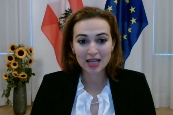 Austrian Minister of Justice Alma Zadić / la ministre de la justice autrichienne Alma Zadić
